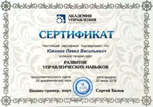 Сертификат Развитие управленческих навыков Кемерово
